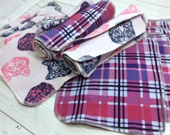 Plaid Cat -Flannel Wipes - Cloth diaper wipes - Reusable baby wipes- Family Cloth