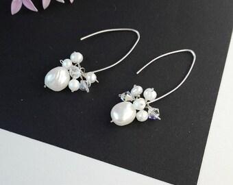 Freshwater pearls earrings ,Solid Sterling Silver 925 Earrings ,Bridal Earrings , Wedding Gift, Handmade jewelry