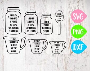 Kitchen SVG, Conversion Cheat Sheet Svg, Kitchen Decor SVG, Measurements, Measuring Spoons, Conversion, Cutting Board SVG, Measuring Cups
