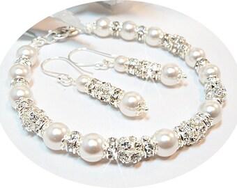 Bridal Bracelet Earrings, Wedding Jewelry, Pearl, Rhinestones, Glitz, Bridal Jewelry, Bridal, Bridal Accessories, Bridal Jewelry