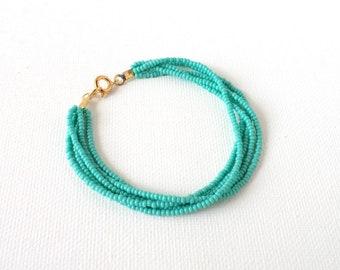 Turquoise bracelet,gift for women, bridesmaid bracelet, seed bead bracelet, beaded bracelet, teal bracelet, aqua bracelet,bracelet femme