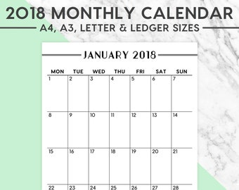 NEW! 2018 MONTHLY CALENDAR | 2018 Planner, 2018 Calendar, Planning, 2018 Wall Calendar, Classic, A4, A3, Letter, Ledger, Instant Download