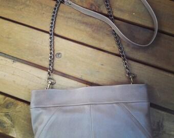 Brown cross body bag. Evening leather bag. Crossbody handbag. Brown leather clutch. Leather shoulder bag. Chain strap purse. Brown purse