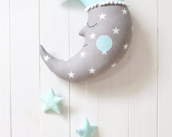 Moon Pillow Moon Cushion Crescent Moon Pillow Star Nursery Decor Star Decor Kids Room Decor Decorative Pillow Kids Pillow Baby shower Gift
