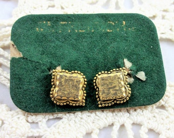 Vintage Freirich Earrings, Clip On Small Gold Tone Jewelry