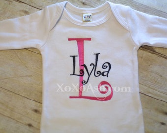 Initial Name Bodysuit or Gown-- Girl Curlz--newborn gift baby shower gift going home outfit--Embroidered shirt or Bodysuit