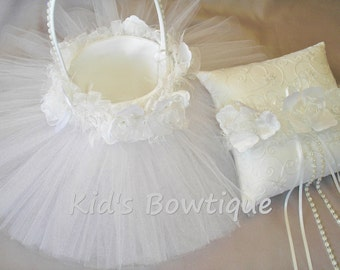 Wedding Tutu Flower Girl Basket - Unique Tulle Bridal Flower Girl Tutu and Roses Wedding Basket