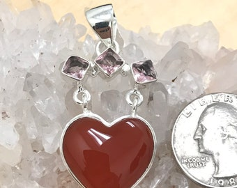 Carnelian Heart with Pink Topaz Accents Pendant Necklace