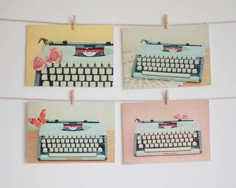 Postcard Set, Typewriter Photography, Still Life Photo, Preppy, Mustard Yellow, Pastel Pink and Blue, Retro, Affordable Art - Typewriter