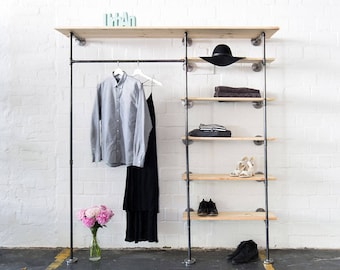 Industrial clothing rack with shelves-steel pipes cloths stand-steel pipe shelf