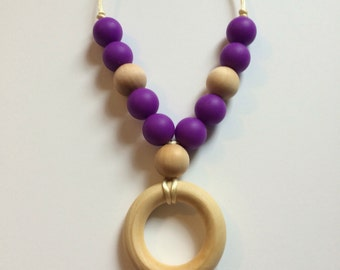 Chompy Small Silicone & Wood Teething Necklace