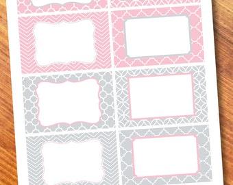 Printable Labels Pink/Gray