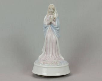 Virgin Mary music box Arnart design 1983 Blue Pink White Catholic statue Roses Made in Taiwan ROC Praying hands No chips cracks or crazing