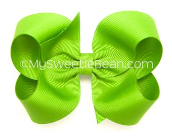 """Bright Apple Green Boutique Bow, 4 inch Hair Bow, Light Apple Green Bow, 4"""" Basic Hairbow, Baby Toddler Girl, Lypple Bow, Neon Apple"""