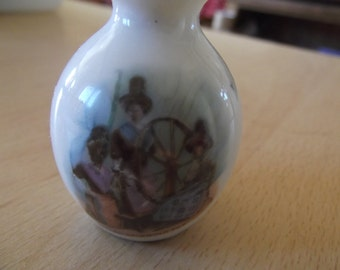 tiny antique vase - souvenir from Wales, Welsh spinning ladies