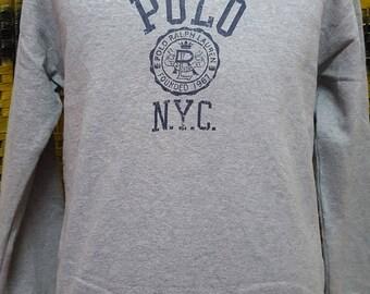 Vintage POLO RALPH LAUREN / big logo spell out / Polo N Y C / Medium size sweatshirt (A20)