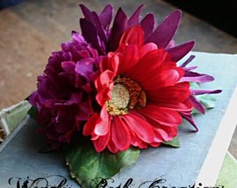 Berry Fairy Cluster Fascinator Clip  - Vegan, Tribal, Belly Dance, Wedding, Bridal, Pin Up, Hair Garden, Purple, Raspberry Red, Daisy