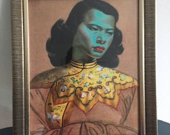 The Green Lady, Chinese Girl, Vladimir Tretchikoff. Framed Retro Print