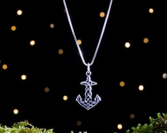 Sterling Silver Celtic Anchor Rope Knot - Small, 3D Double Sided - (Charm Only or Necklace)