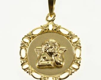 10k High Relief Raphael Angel Cherub Scroll Trim Charm/Pendant Gold