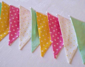 Fabric bunting flags Nursery decor Baby shower decor Pennant Bunting garland Colorful bunting