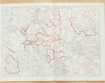 Europe after the Treaty of Versailles c. 1921 Antique Map, Part Coloured