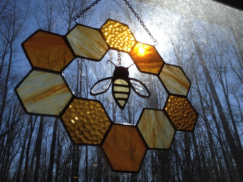 Stained Glass Bee and Honeycomb Wreath
