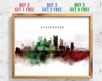 Pittsburgh Skyline Watercolor
