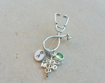 MD Medical Doctor Caduceus Stethoscope Handstamped Personalized Initial Letter Birthstone Graduation Gift Brooch Pin