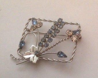 Star Art Vintage Brooch Pendant Sterling Blue Floral Spray
