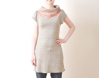 Womens jersey tunic, Beige and coral pink jersey tunic, with short sleeves, Summer clothing, Womens clothing, MALAM, size UK 8
