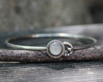 Rustic moonstone bracelet / white moonstone bracelet / silver bangle bracelet / gift for her / jewelry sale / sterling bangle bracelet