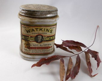 Watkins Mustard Ointment Vintage Jar, Milkglass, Dirty, Haunted Abandoned House Decor, Antique Medical Decor