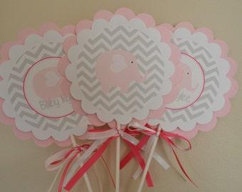Elephant Theme Centerpieces - Elephant Baby Shower - Elephant Centerpiece - Elephant Shower - Pink and Gray- It's a Girl - Set of 3