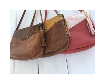 Custom Leather crossbody bag, small, leather clutch, zipper closure, choose your own colors, genuine leather, handmade USA, festival bag