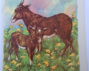 Donkey Safe With Mother - A Clara M Burd Vintage Print 1930s Childrens Book Print