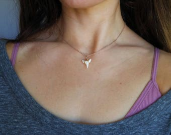 Rose gold shark tooth choker necklace