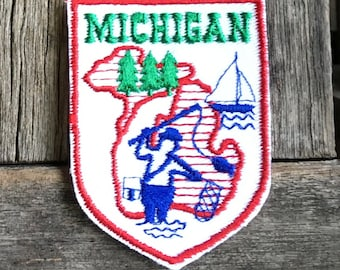 Michigan Fishing Vintage Souvenir Travel Patch by Voyager