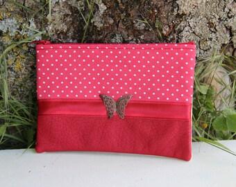 Red fabric clutch / Ecru dots tie