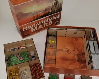 Terraforming Mars board game insert/organizer/storage solution, easy game setup, fits expansions, wood, sleeved cards ok, player cube trays