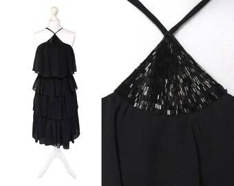 Jahrgang Shubette von London Kleid | Schwarzes Kleid | 1970er Jahren abgestufte Chiffon-Kleid