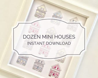 INSTANT DOWNLOAD / Dozen Multi Houses Printable 8x10 / Nursery Decor / Gender Reveal Ideas / Printable Art / Wall Art / Boy and Girl Nursery
