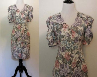 Vintage 1980s/90s Floral Button Dress