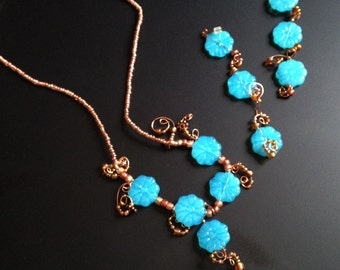 Whimsical Flowers, necklace and earring set