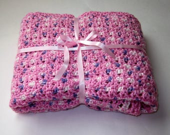 SHIPS FREE* Pink Crochet Baby Blanket, Pink Crochet Baby Afghan, Baby Shower Gift, Gift for Baby Girl, Crochet Baby Throw, Pink Crib Blanket