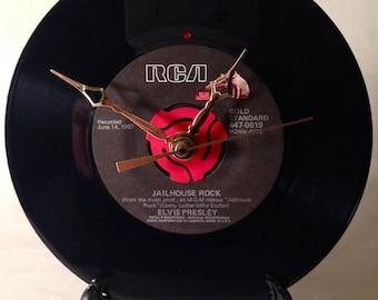 "Recycled ELVIS PRESLEY 7"" Record • Jailhouse Rock • Record Clock"