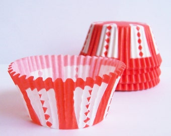 Circus Style Cupcake Liners Orangey Red- Choose Set of 50 or 100