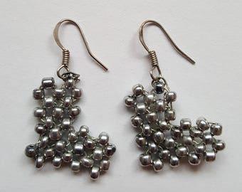 Handmade silver heart earrings. Jewellery for girl or women. Prefect gift for her.