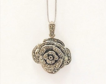 Vintage 1970's Marcasite Rose on Chain - Sterling Silver