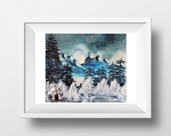 Mountain Painting - Nature Painting - Oil Painting  - Winter Oil Painting - Painting - Gift for her - Gift for him - Housewarming